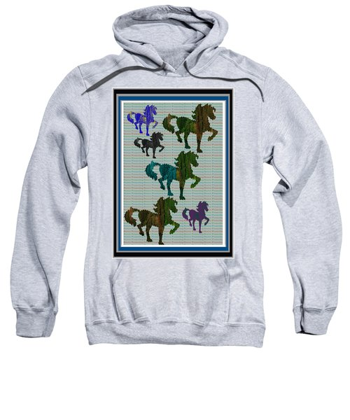 Kids Fun Gallery Horse Prancing Art Made Of Jungle Green Wild Colors Sweatshirt