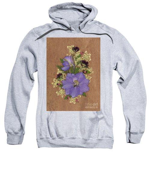 Larkspur And Queen-ann's-lace Pressed Flower Arrangement Sweatshirt