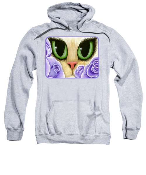 Lavender Roses Cat - Green Eyes Sweatshirt