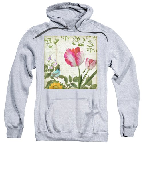 Les Magnifiques Fleurs IIi - Magnificent Garden Flowers Parrot Tulips N Indigo Bunting Songbird Sweatshirt by Audrey Jeanne Roberts