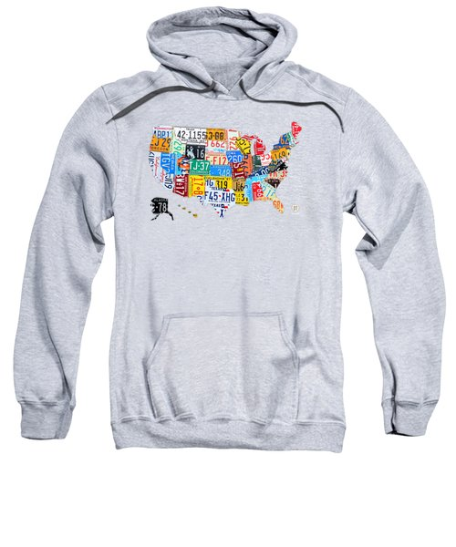 License Plate Art Map Of The United States On Yellow Board Sweatshirt by Design Turnpike