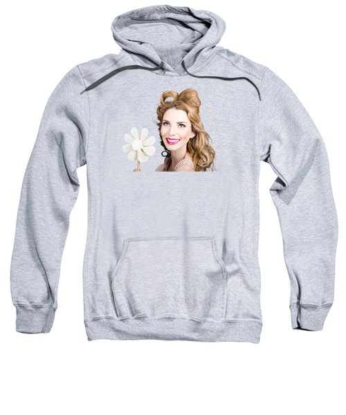 Light Brunette Pin-up Girl With Toy Wind Turbine Sweatshirt