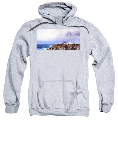 Lighthouse On The Cliff Watercolor Sweatshirt