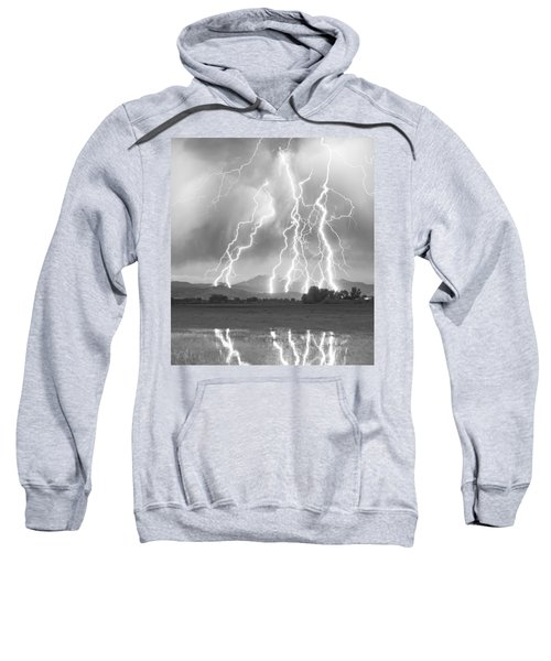 Lightning Striking Longs Peak Foothills 4cbw Sweatshirt