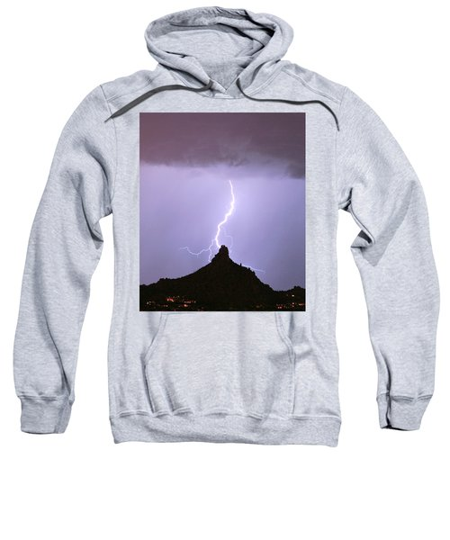 Lightning Striking Pinnacle Peak Scottsdale Az Sweatshirt