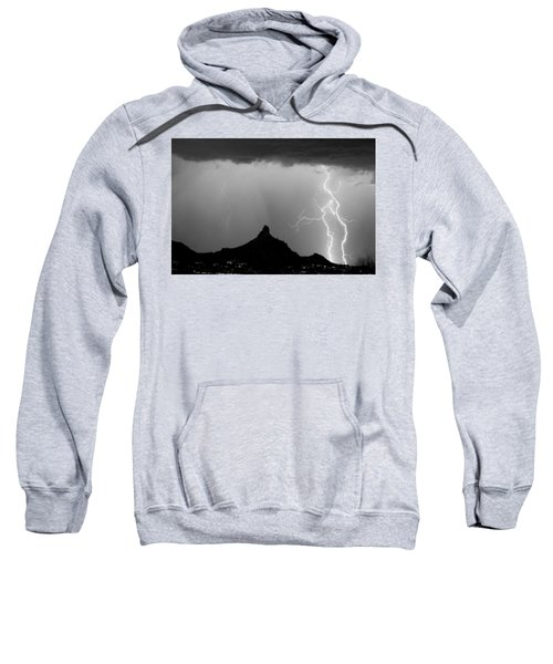 Lightning Thunderstorm At Pinnacle Peak Bw Sweatshirt