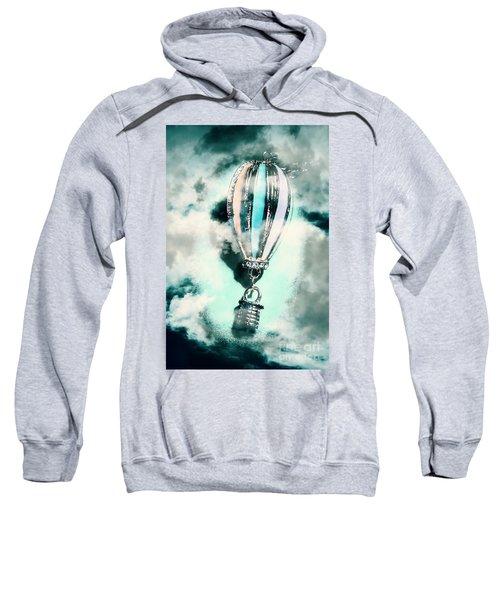 Little Hot Air Balloon Pendant And Clouds Sweatshirt