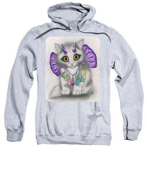 Little Purple Horns - 1980s Cute Devil Kitten Sweatshirt