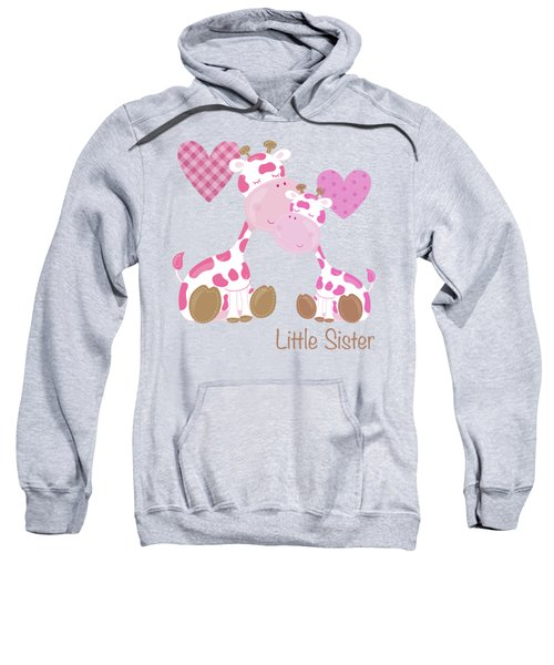 Little Sister Cute Baby Giraffes And Hearts Sweatshirt