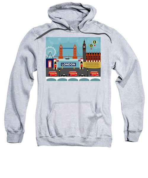 London England Horizontal Scene - Collage Sweatshirt