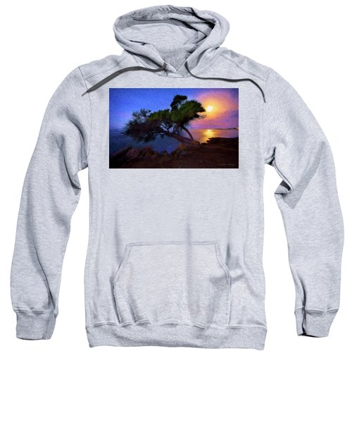 Lone Tree On Pacific Coast Highway At Moonset Sweatshirt