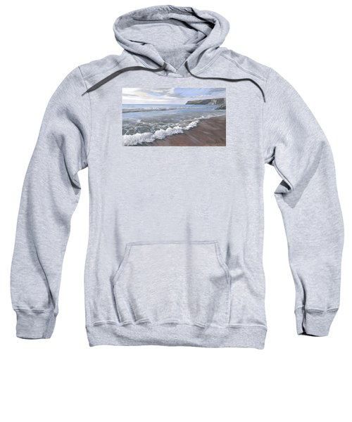 Sweatshirt featuring the painting Long Waves At Trebarwith by Lawrence Dyer