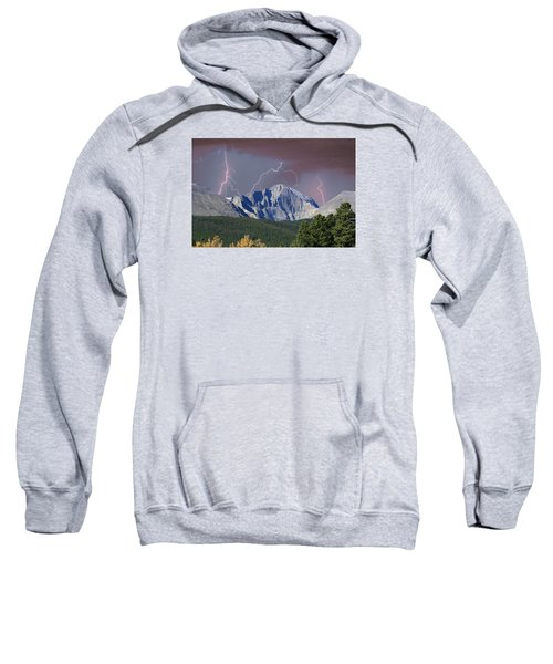 Longs Peak Lightning Storm Fine Art Photography Print Sweatshirt by James BO  Insogna