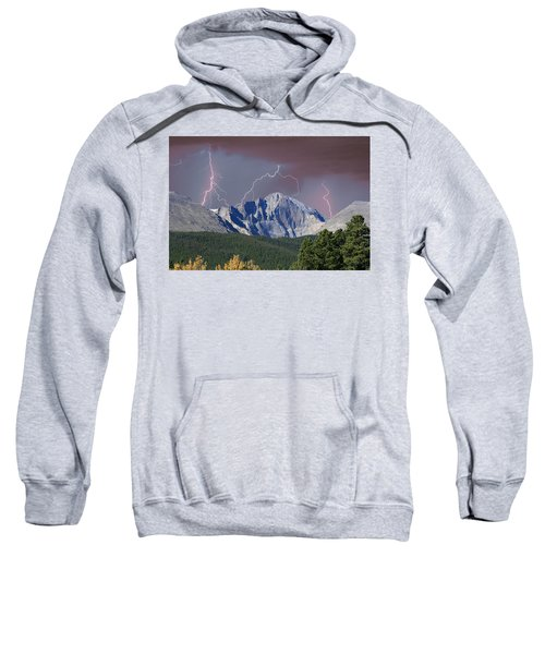 Longs Peak Lightning Storm Fine Art Photography Print Sweatshirt