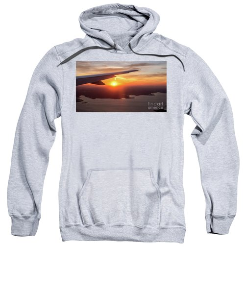 Looking At Sunset From Airplane Window With Lake In The Backgrou Sweatshirt