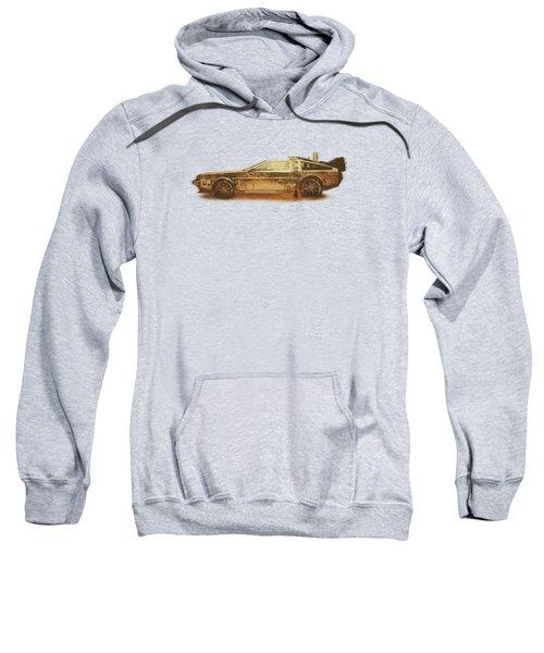 Lost In The Wild Wild West Golden Delorean Doubleexposure Art Sweatshirt