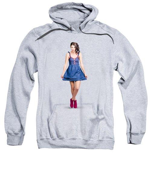 Lovable Eighties Female Pin-up In Denim Dress Sweatshirt by Jorgo Photography - Wall Art Gallery