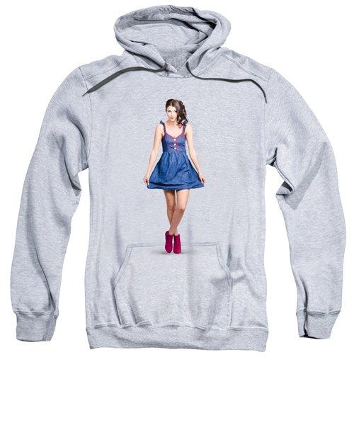 Lovable Eighties Female Pin-up In Denim Dress Sweatshirt