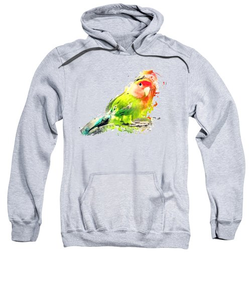 Lovebird Watercolor Painting Sweatshirt by Justyna JBJart