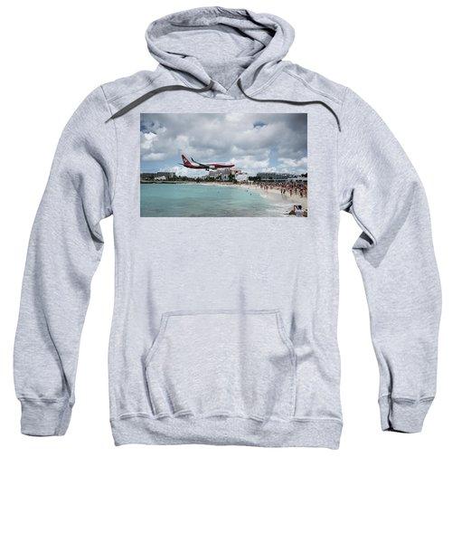 Low Landing At Sonesta Maho Beach Sweatshirt