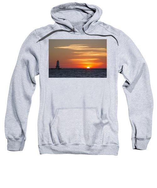 Sweatshirt featuring the photograph Ludington North Breakwater Light At Sunset by Adam Romanowicz