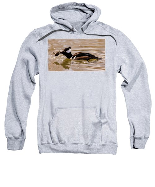 Sweatshirt featuring the photograph Lunchtime For The Hooded Merganser by Randy Scherkenbach