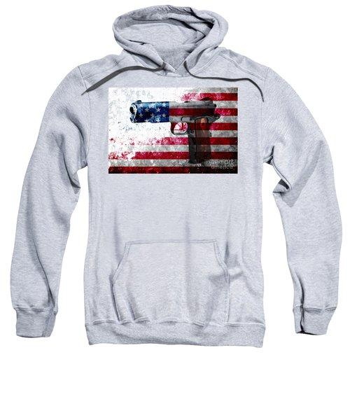 M1911 Colt 45 And American Flag On Distressed Metal Sheet Sweatshirt