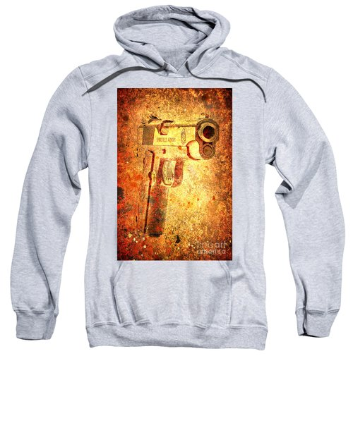 M1911 Muzzle On Rusted Background 3/4 View Sweatshirt