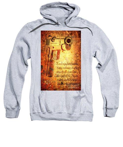 M1911 Pistol And Second Amendment On Rusted Overlay Sweatshirt