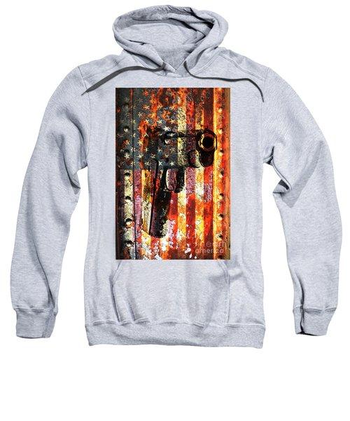 M1911 Silhouette On Rusted American Flag Sweatshirt