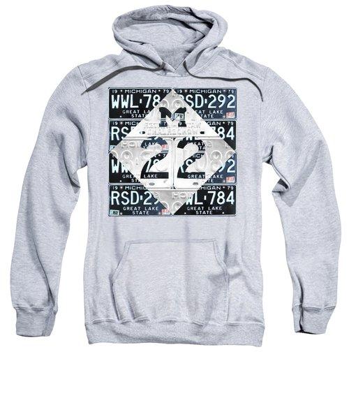 M22 Michigan Highway Symbol Recycled Vintage Great Lakes State License Plate Logo Art Sweatshirt