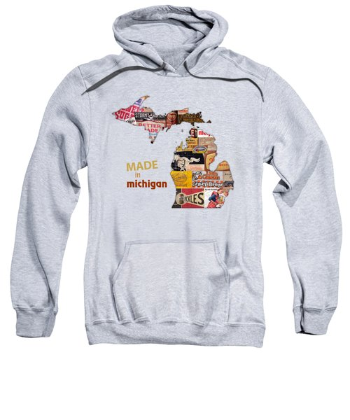 Made In Michigan Products Vintage Map On Wood Sweatshirt by Design Turnpike