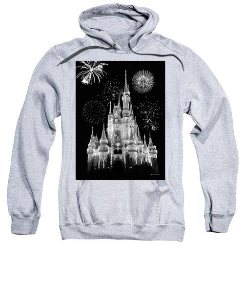Magic Kingdom Castle In Black And White With Fireworks Walt Disney World Mp Sweatshirt by Thomas Woolworth