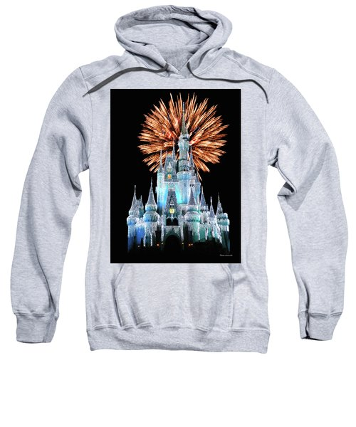 Magic Kingdom Castle In Frosty Light Blue With Fireworks 02 Mp Sweatshirt by Thomas Woolworth
