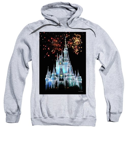 Magic Kingdom Castle In Frosty Light Blue With Fireworks 03 Mp Sweatshirt by Thomas Woolworth