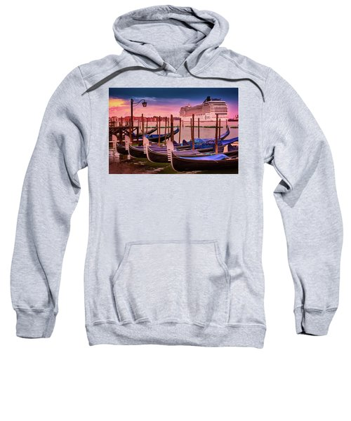 Gondolas And Cityscape At Sunset In Venice, Italy Sweatshirt