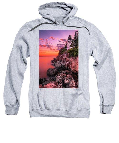 Maine Bass Harbor Lighthouse Sunset Sweatshirt