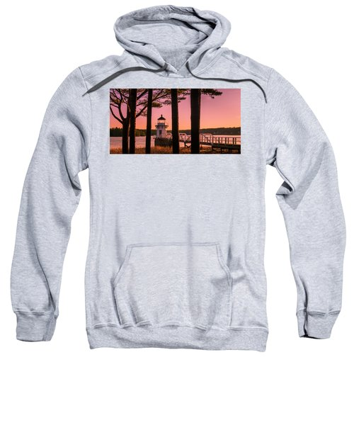 Maine Doubling Point Lighthouse At Sunset Panorama Sweatshirt