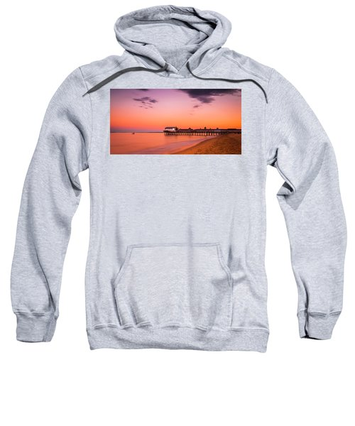 Maine Old Orchard Beach Pier At Sunset Sweatshirt