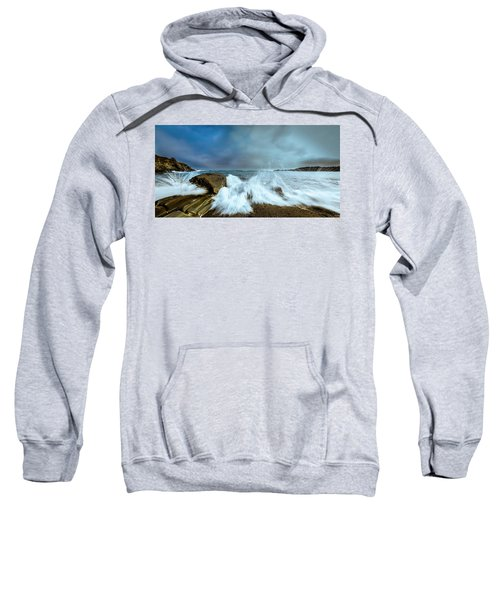 Maine Rocky Coast During Storm At Two Lights Sweatshirt