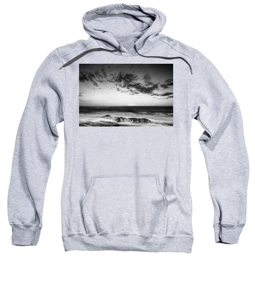Maine Rocky Coast With Boulders And Clouds At Two Lights Park Sweatshirt