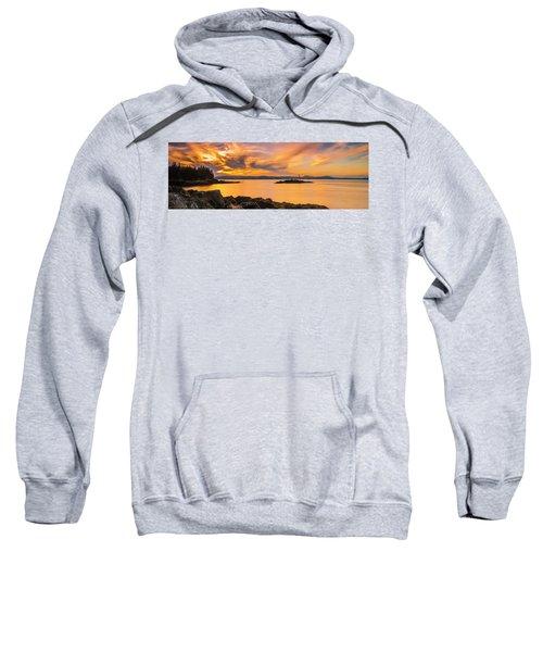 Maine Rocky Coastal Sunset In Penobscot Bay Panorama Sweatshirt