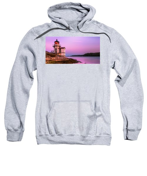 Maine Squirrel Point Lighthouse On Kennebec River Sunset Panorama Sweatshirt