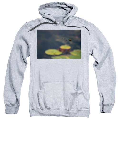 Malibu Blue Dragonfly Flying Over Lotus Pond Sweatshirt