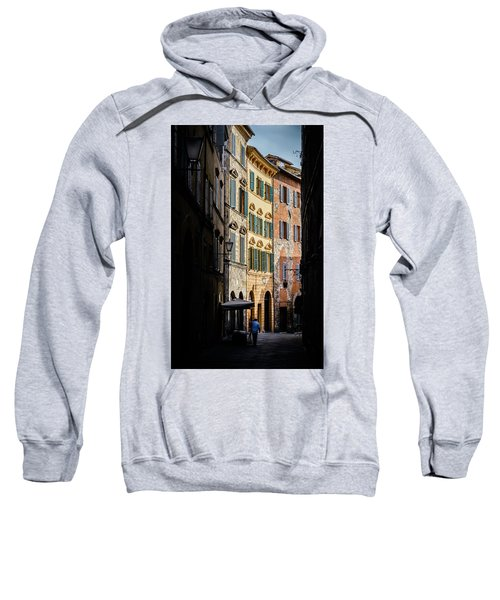 Man Walking Alone In Small Street In Siena, Tuscany, Italy Sweatshirt