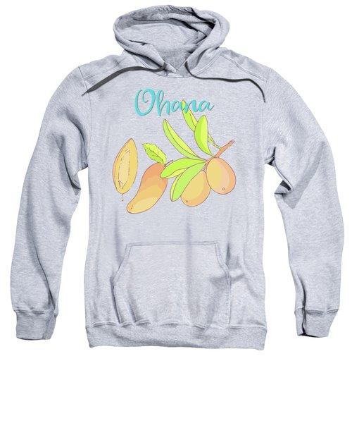 Mango Ohana Tropical Hawaiian Design Of Fruit And Family Sweatshirt by Tina Lavoie