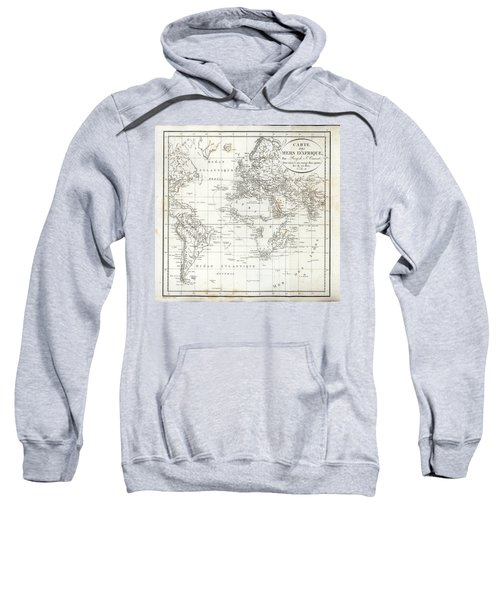 Sweatshirt featuring the drawing Map Of The Voyage To Explore Islands In The Seas Of Africa by J B Bory de Saint-Vincent