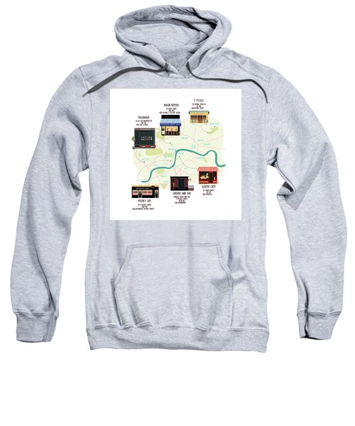 Map Of Unique London Eateries And Bars Sweatshirt