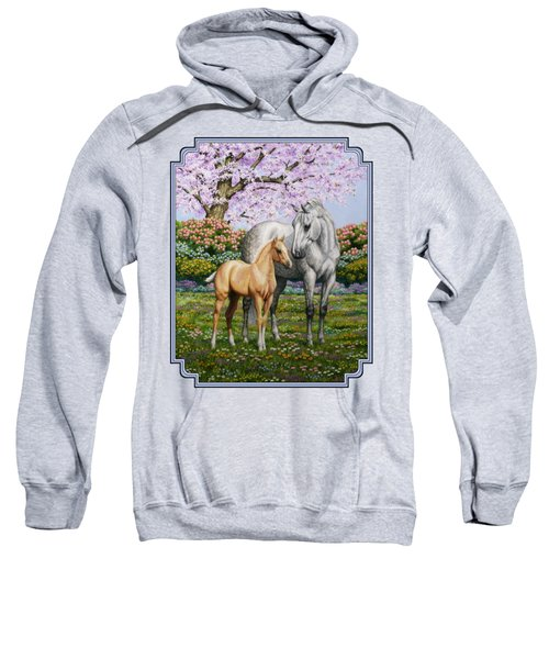 Mare And Foal Pillow Blue Sweatshirt by Crista Forest