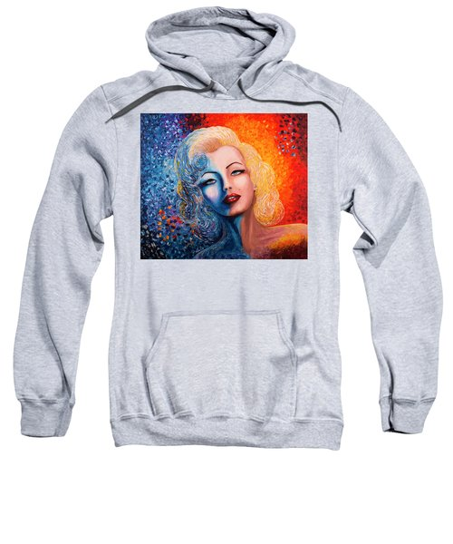 Sweatshirt featuring the painting Marilyn Monroe Original Acrylic Palette Knife Painting by Georgeta Blanaru